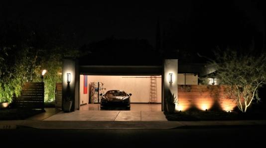 front elev night garage open